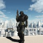 Space Marine Commando - City Patrol — Stock Photo
