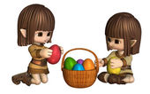 Cute Toon Easter Elves with Basket of Eggs — Stock Photo