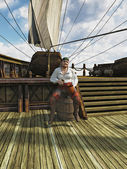 Pirate on Board Ship — Stock Photo