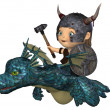 Toon Baby Viking Flying a Pet Dragon — Stock Photo