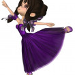 Toon Ballerina in Purple Romantic Style Tutu — Stock Photo