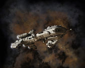 Interstellar Frigate and Nebula — Stock Photo