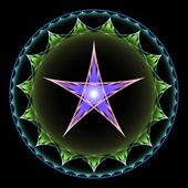 Purple and Green Pentangle Abstract Fractal Design — Stock Photo