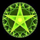 Green Pentangle Abstract Fractal Design — Stock Photo