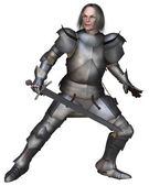 Elderly Mediaeval Knight Fighting — Stock Photo