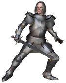 Elderly Mediaeval Knight Fighting — Stock Photo