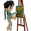 Cute Toon Artist Girl — Stock Photo