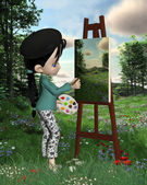 Cute Toon Landscape Artist Girl — Stock Photo