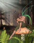 Woodland Fairy Boy Sitting on a Toadstool — Stock Photo