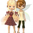 Cute Toon Fairy Friends, holding hands — Stock Photo #27707865