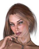 女性肖像-布鲁内特 — 图库照片