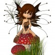 Cute Toon Autumn Fairy and Toadstool — Stock Photo #27942741