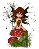 Cute Toon Autumn Fairy and Toadstool — Stock Photo