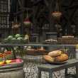 Постер, плакат: Farmers Market in a Medieval Marketplace