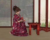 Japanese Woman inside her House — Stock Photo