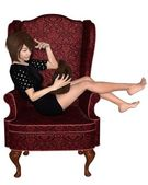 Japanese Girl in Armchair — Stock Photo