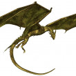 Green Scaled Dragon in Flight — Stock Photo