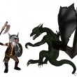 Toon Viking Dwarf and Dragon — Stock Photo