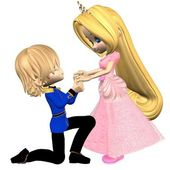 Cute Toon Fairytale Prince and Princess — Stock Photo