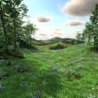 Countryside with meadows and hills — Stock Photo