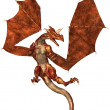 Red Scaled Dragon Attacking — Stock Photo