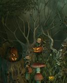 Spooky Goblin Halloween Forest — Stock Photo