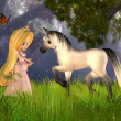 Cute Toon Fairytale Princess and Unicorn — Stock Photo