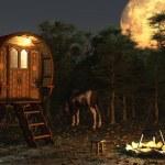 Gypsy Wagon in the Moonlight — Stock Photo