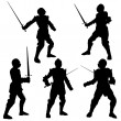 Medieval Knight Silhouettes - 1 — Stock Photo