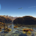 Beneath Alien Skies - Spaceship flying over an alien planet landscape — Stock Photo #37553039