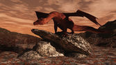 Red Dragon on a lava flow — Stock Photo
