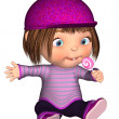 Cute Toon Kid Sitting with Pink Lollipop — Stock Photo