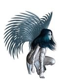 Alien Angel - Crouching — Stock Photo