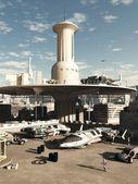 Future City Spaceport — Stock Photo
