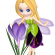 Постер, плакат: Cute Toon Purple Crocus Fairy Standing