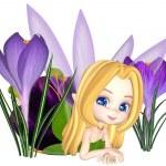 Cute Toon Purple Crocus Fairy, Lounging — Stock Photo #42325577