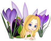 Cute Toon Purple Crocus Fairy, Lounging — Stock Photo