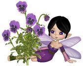 可爱卡通紫色堇型花仙子坐 — 图库照片