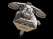 Spaceship on black - front view — Foto Stock