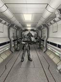 Space marine Soldaten in höchster Alarmbereitschaft — Stockfoto