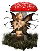 Pretty Fairy Sheltering Under a Toadstool — Stock Photo