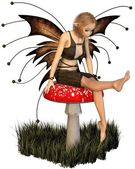 Pretty Fairy Sitting on a Toadstool — Stock Photo