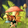 Woodland Toadstool Fairy with forest background — Stock Photo