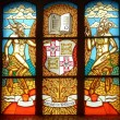 Stained glass window in a Konigsberg cathedral, Kaliningrad, Russia. - Stock Photo