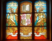 Stained glass window in a Konigsberg cathedral, Kaliningrad, Russia. — Stock Photo