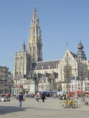 Spring in Europe. Sunny April day in Antwerp, Belgium. — Stock Photo