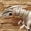 图库照片: Part of toy plastic predator against stone wall.