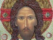 """Handicraft. Bead embroidery. A part of an icon """"The Image of Edessa"""". — Stock Photo"""