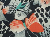 Old artificial silk fabric with a seamless abstract pattern. Fabric from 1970s. — Stock Photo