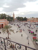 City view from the roof. Mosque, Medina (old historical part of the town), Marracech, Morocco. January, 2013 — Stock Photo